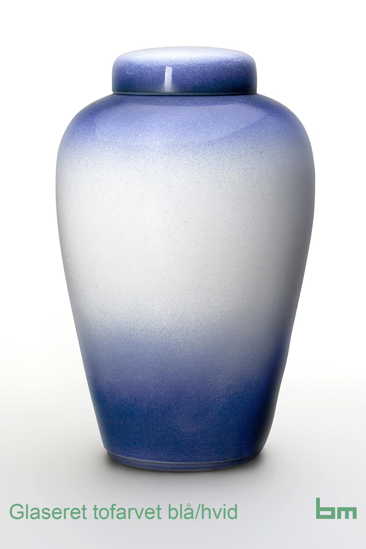 Glaseret tofarvet blåhvid